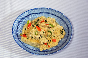 雪豆腐の卵とじ